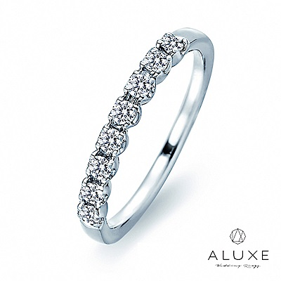 A-LUXE 亞立詩鑽石 18K金 1/3圈 百搭奢華美鑽線戒女戒