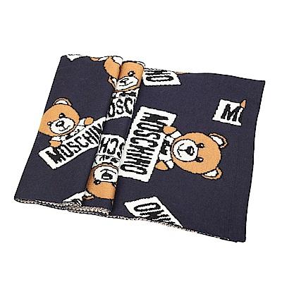 MOSCHINO 經典Toy 小熊滿版混紡羊毛圍巾(深藍)