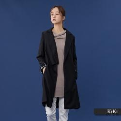 【KiKi】簡約風內裡格紋西裝-外套(黑色)