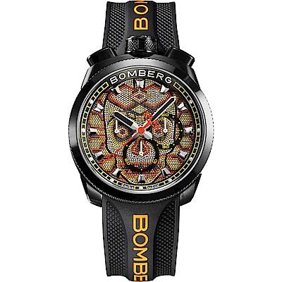 BOMBERG 炸彈錶 BOLT-68 石英橘色珍珠骷髏頭錶-45mm
