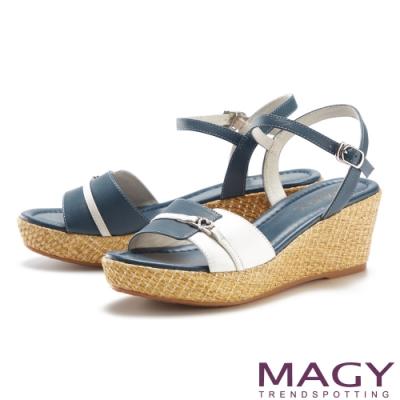 MAGY 愛心鑽飾真皮雙色楔型高跟 女 涼鞋 藍色
