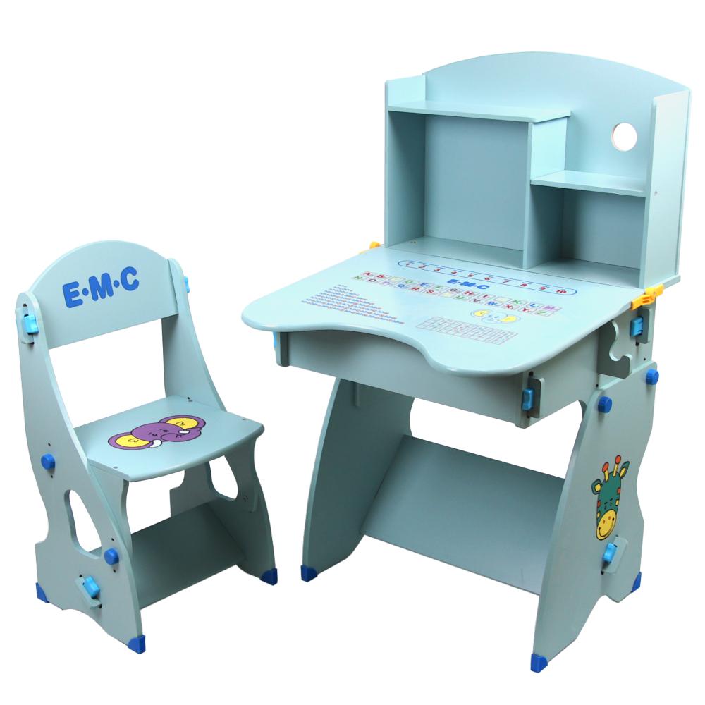 EMC 新款防夾手木質兒童升降成長書桌椅