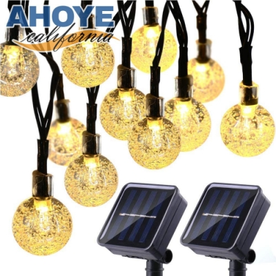 AHOYE 太陽能LED玻璃球燈串(暖光) 6.5米-30燈