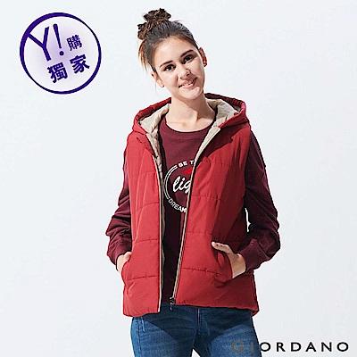 GIORDANO 女裝素色輕量連帽鋪棉背心-14 標誌紅