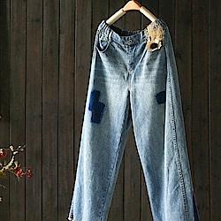 寬鬆補丁毛邊純棉寬管牛仔九分褲-設計所在