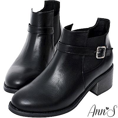 Ann'S好看好穿-單銀扣切爾西粗跟短靴-黑
