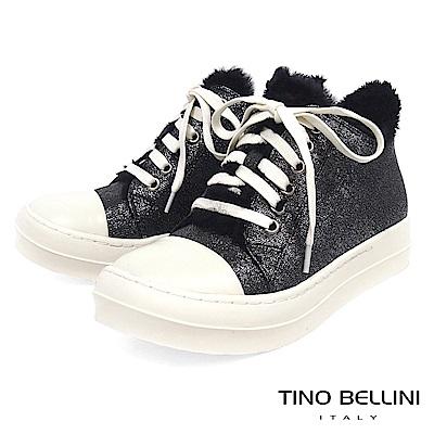 Tino Bellini青春暖心鋪毛綁帶厚底休閒鞋_金屬灰