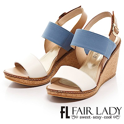 Fair Lady 假期美足配色寬帶楔型鞋 白