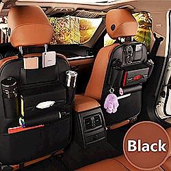 威力鯨車神 頂級內裝手工皮製汽車椅背收納袋_椅背置物袋_皮革時尚品味款(黑色)