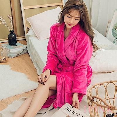 i PINK 冬日必備 基本素色保暖法蘭絨睡袍(桃)
