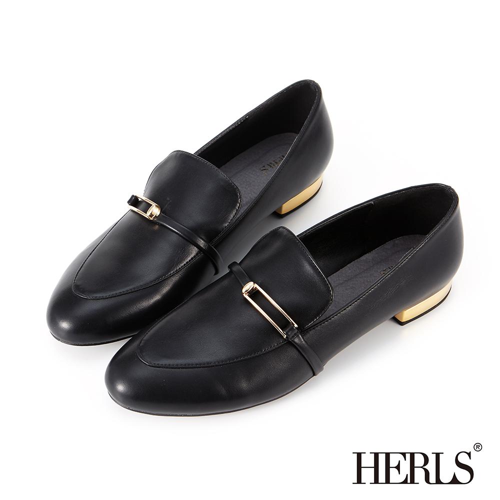 HERLS 摩登雅緻 內真皮方釦橫帶樂福鞋-黑色 @ Y!購物