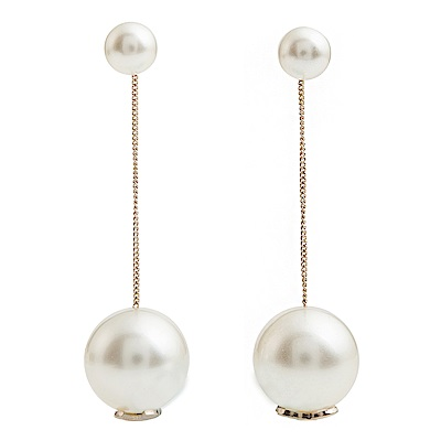 CHANEL 新款大小珍珠雙C LOGO垂墜穿式耳環