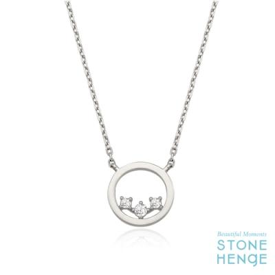 STONEHENgE 斯通亨奇 純銀圓形造型鋯石項鍊