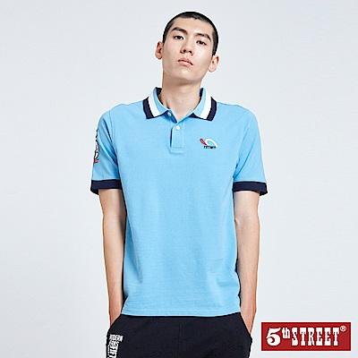 5th STREET 撞色YOKO領POLO衫-男-藍色