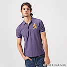 GIORDANO 男裝勝利獅王漸層刺繡彈力萊卡POLO衫-47 雪花降落傘紫