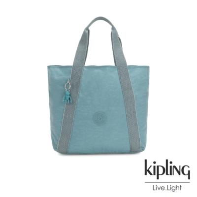 Kipling 冰霜綠復古休閒LOGO托特包-HYE
