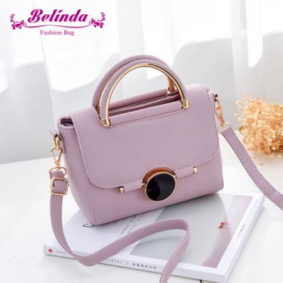 【Belinda】凱瑟琳圓形鎖扣甜美手提側背包(粉紫)