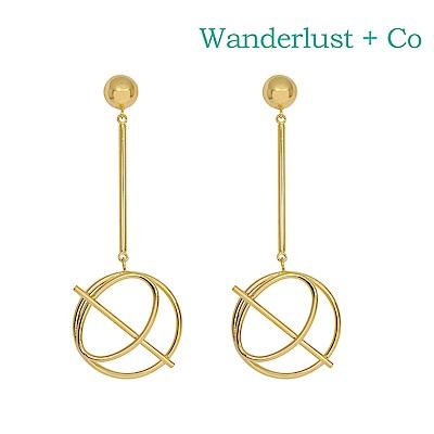Wanderlust+Co 澳洲時尚品牌 INFUSION星軌造型垂墜式耳環 金色