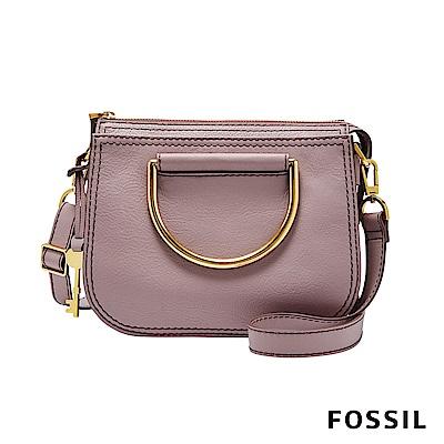 FOSSIL RYDER 真皮小圓弧手提/側背兩用包(硬質把手)-蘭花粉色