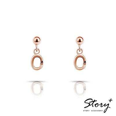 STORY故事銀飾-Charm扣扣系列-基礎耳環(玫瑰金)