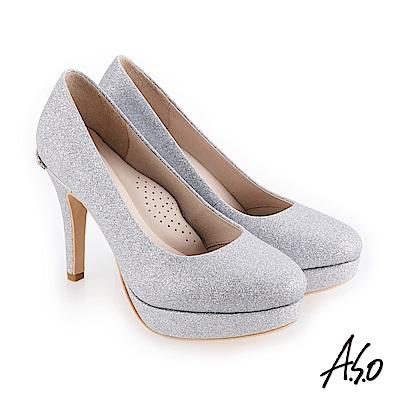A.S.O 璀燦宴會 金蔥鞋面奢華浪漫高跟鞋 銀