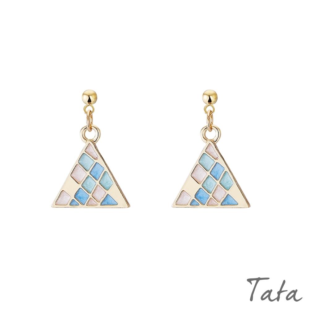 繽紛方塊三角形耳環 TATA