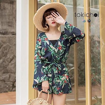 東京著衣 南洋性感花卉連身褲-S.M(共二色)
