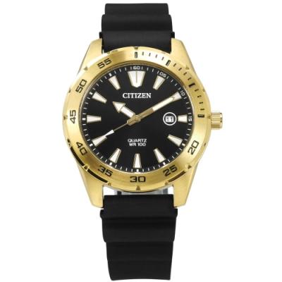CITIZEN 三眼計時 礦石強化玻璃 日本機芯 防水100米 橡膠手錶-黑x金/42mm