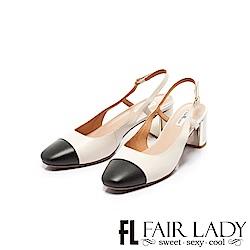 Fair Lady優雅小姐Miss Elegant拼接方頭後拉帶粗跟涼鞋 經典白