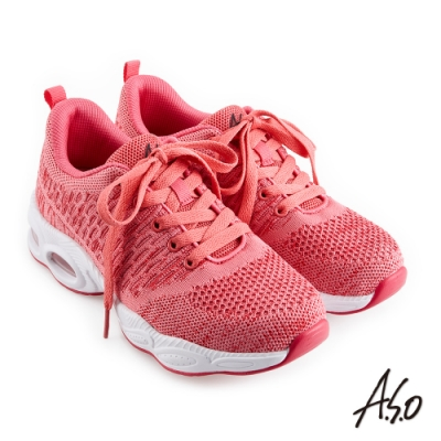 A.S.O 機能休閒 活力雙核心繽紛色系綁帶針織運動鞋-粉橘