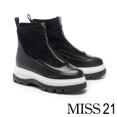 短靴 MISS 21 個性未來感異材質拼接中央鍊設計厚底短靴-黑