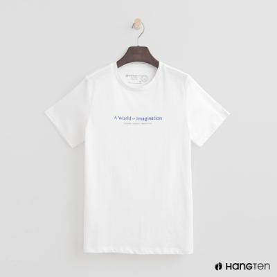 Hang Ten - 女裝 - 有機棉-簡約純色英文字T桖 - 白
