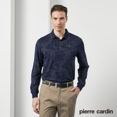 Pierre Cardin皮爾卡登 男裝 印花長袖POLO衫-深藍色(5205261-38)