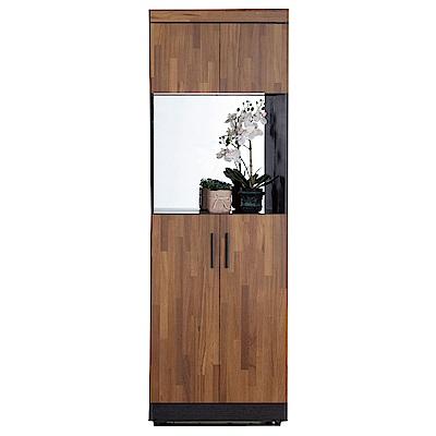 文創集 羅姆時尚2尺鏡面雙色四門高鞋櫃/玄關櫃-60x32x180cm免組