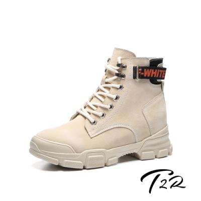 T2R-正韓空運-真皮女款真皮高筒拉鍊短靴-隱形增高鞋-增高7公分-卡其