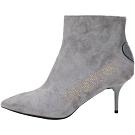 LOVE MOSCHINO 字母鉚釘山羊皮麂絨高跟尖頭短靴(灰色)