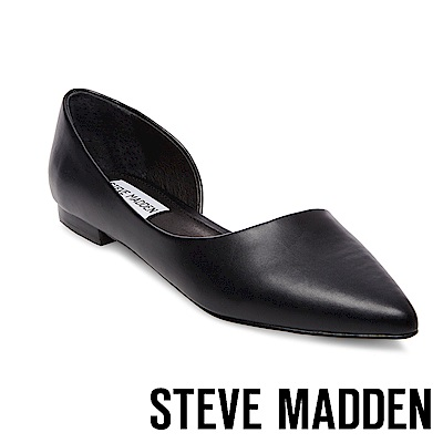STEVE MADDEN-AUDRIANA 素面尖頭側空平底鞋-黑色