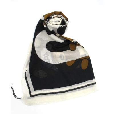 MOSCHINO 滿版小熊圖騰造型圍巾 (黑/紅)