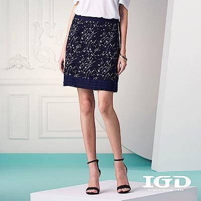 IGD英格麗 優雅小碎花雪紡及膝裙-深藍