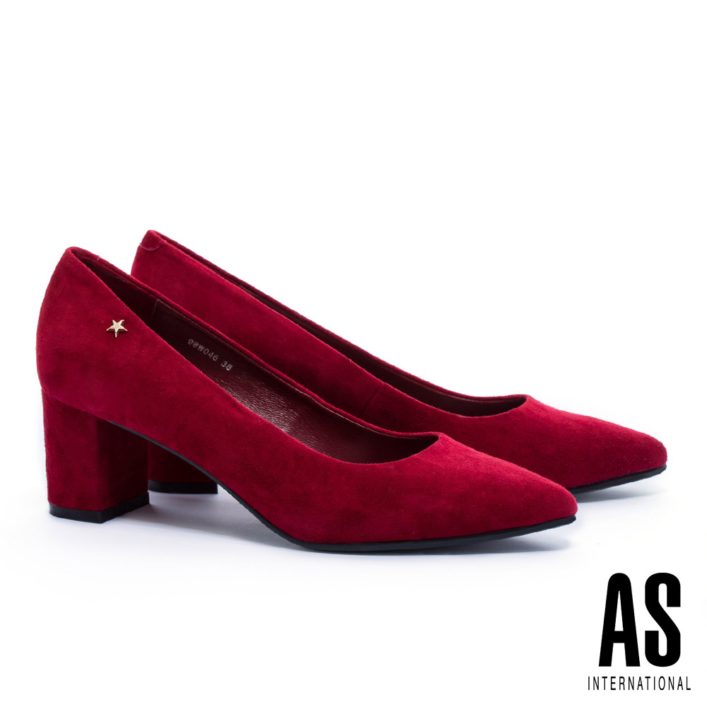 高跟鞋 AS 復古氣質星星鉚釘全真皮尖頭粗跟高跟鞋-紅