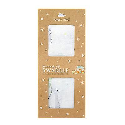美國 Angel Dear 竹纖維嬰幼兒包巾禮盒 (長頸鹿放風箏)