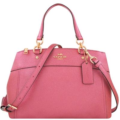 COACH 粉紅色光澤防刮皮革手提/斜背兩用包