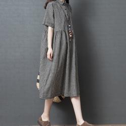 Lockers 木櫃 寬鬆棉麻格子中長款襯衫連衣裙