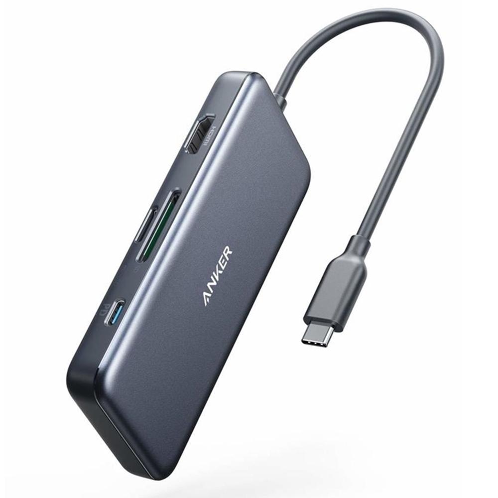 美國Anker USB-C七合一影像傳輸充電集線器A83460A2(4K HDMI電源傳輸USB-C充電數據端子micro SD和SD讀卡器和2個USB 3.0端子)