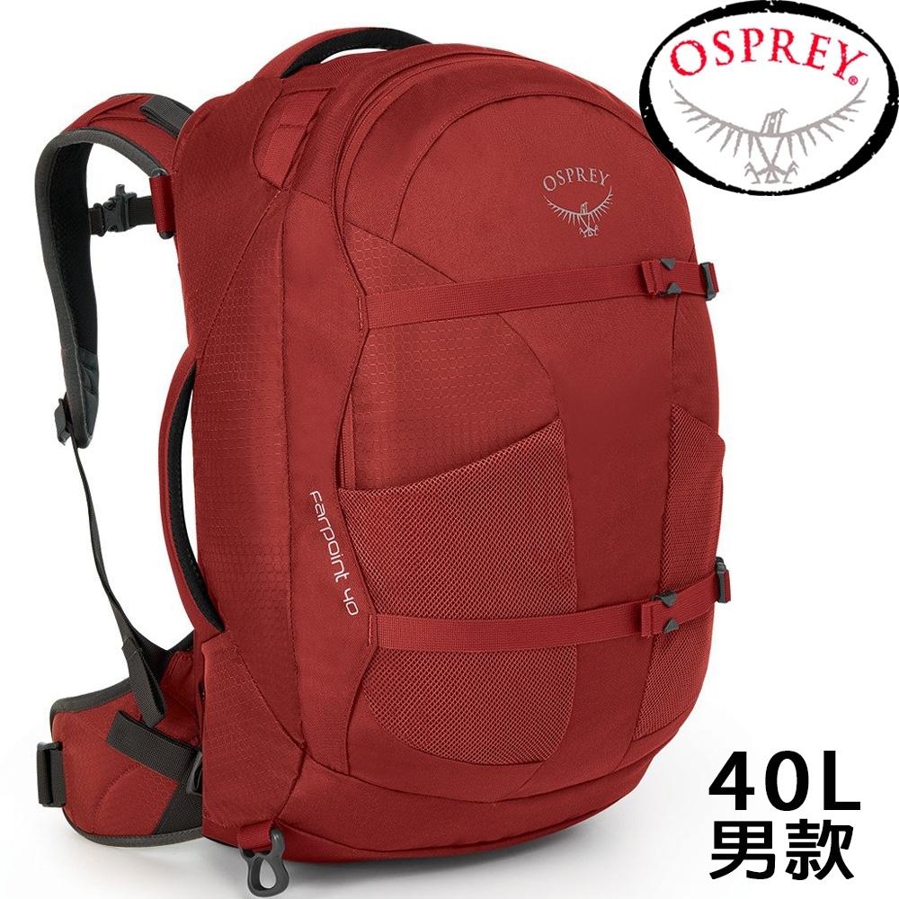 Osprey Farpoint 40L 寶石紅 自助旅行背包/Travel Pack Carry/登機包/旅行背包/雙肩背包/肩帶可收納