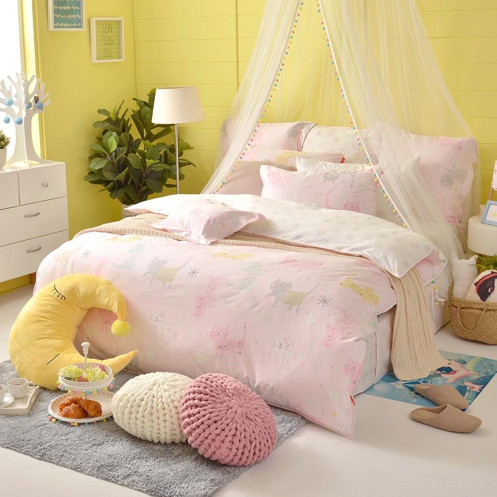 義大利Fancy Belle 俏皮貓咪兒 加大防蹣抗菌吸濕排汗兩用被床包組
