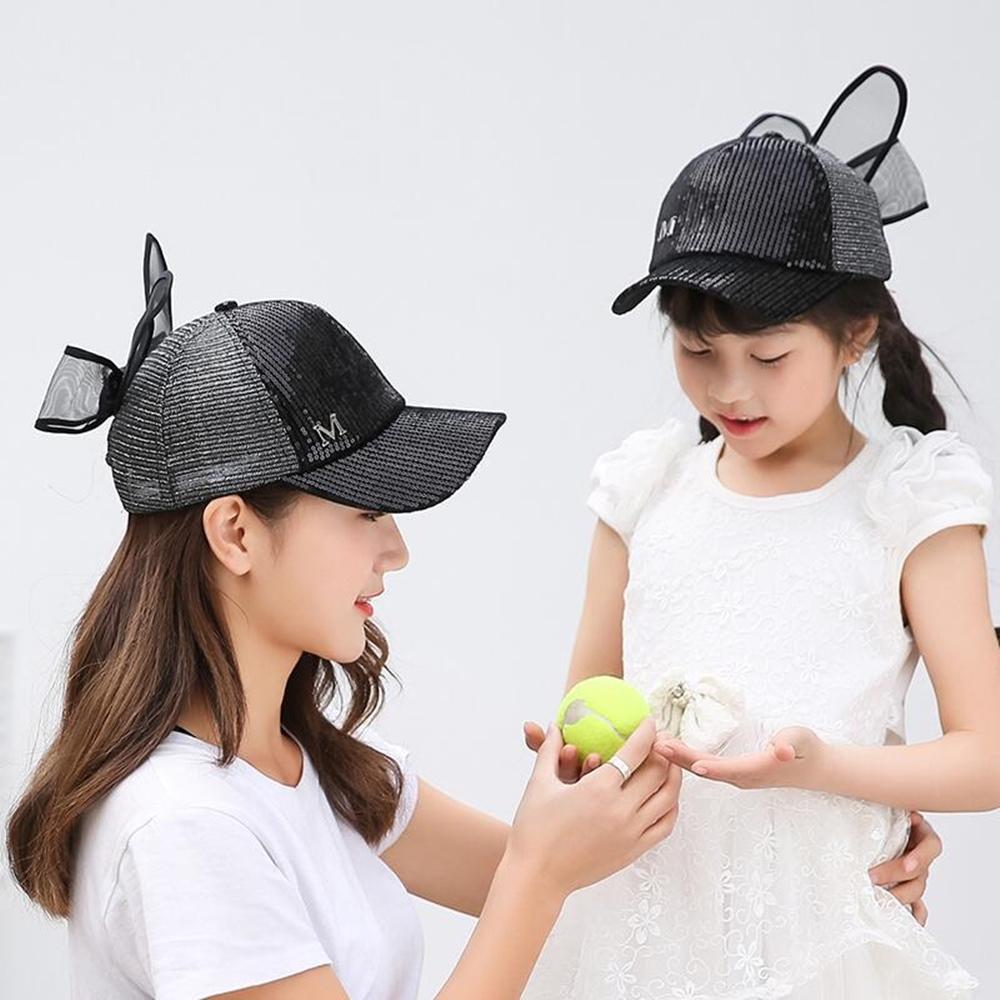梨花HaNA 低調華麗系列親子網紗蝴蝶結可愛亮片棒球帽