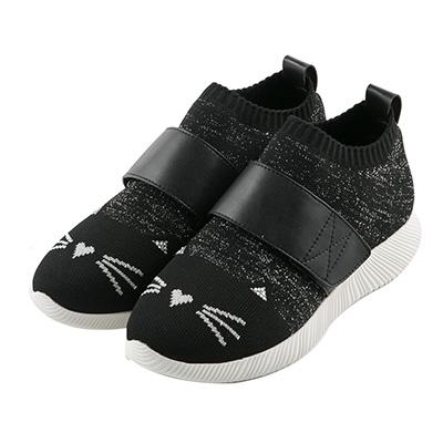 BESO 炫彩貓咪 束帶輕量飛織休閒鞋~黑