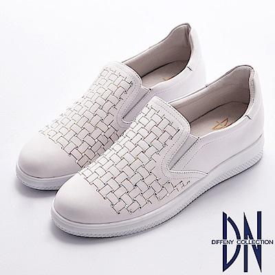 DN 知性經典 舒適真皮水鑽點綴幾何休閒鞋-白