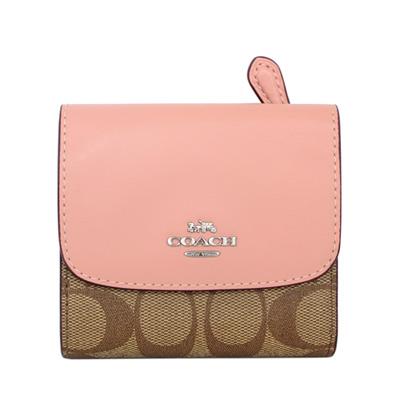 COACH粉紅真皮拼接卡其C Logo釦式三摺短夾